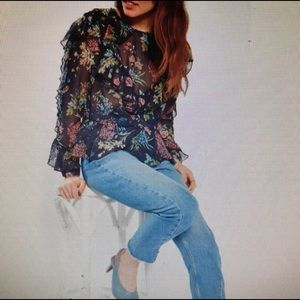 TOPSHOP Sheer Floral Ruffle Blouse Size 4